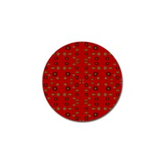 Brown Circle Pattern On Red Golf Ball Marker (10 Pack) by BrightVibesDesign