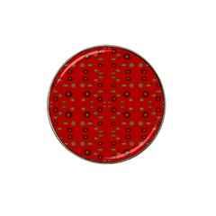 Brown Circle Pattern On Red Hat Clip Ball Marker (4 Pack) by BrightVibesDesign