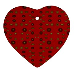 Brown Circle Pattern On Red Heart Ornament (two Sides) by BrightVibesDesign