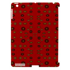 Brown Circle Pattern On Red Apple Ipad 3/4 Hardshell Case (compatible With Smart Cover) by BrightVibesDesign
