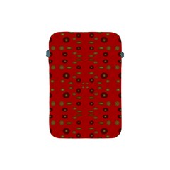 Brown Circle Pattern On Red Apple Ipad Mini Protective Soft Cases by BrightVibesDesign
