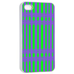 Bright Green Purple Stripes Pattern Apple Iphone 4/4s Seamless Case (white) by BrightVibesDesign