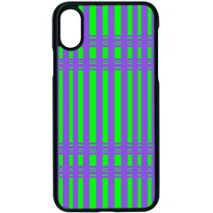 Bright Green Purple Stripes Pattern Apple Iphone X Seamless Case (black) by BrightVibesDesign