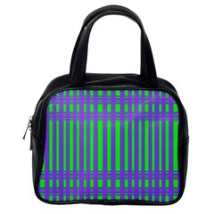 Bright Green Purple Stripes Pattern Classic Handbags (one Side) by BrightVibesDesign
