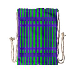 Bright Green Purple Stripes Pattern Drawstring Bag (small) by BrightVibesDesign