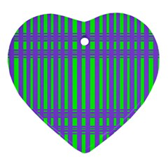 Bright Green Purple Stripes Pattern Ornament (heart) by BrightVibesDesign