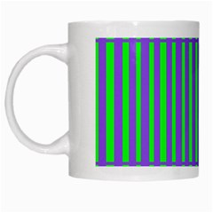 Bright Green Purple Stripes Pattern White Mugs by BrightVibesDesign