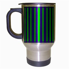 Bright Green Purple Stripes Pattern Travel Mug (silver Gray) by BrightVibesDesign