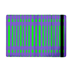 Bright Green Purple Stripes Pattern Ipad Mini 2 Flip Cases by BrightVibesDesign