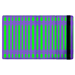 Bright Green Purple Stripes Pattern Apple Ipad Pro 12 9   Flip Case by BrightVibesDesign