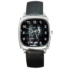 Gas Mask Contamination Contaminated Square Metal Watch