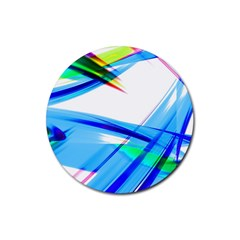 Lines Vibrations Wave Pattern Rubber Round Coaster (4 Pack)  by Celenk