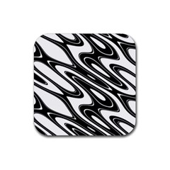 Black And White Wave Abstract Rubber Coaster (square)  by Celenk