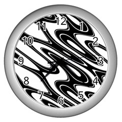 Black And White Wave Abstract Wall Clocks (silver)