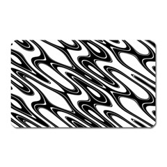 Black And White Wave Abstract Magnet (rectangular)