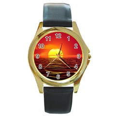 Sunset Ocean Nature Sea Landscape Round Gold Metal Watch