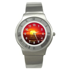 Sunset Ocean Nature Sea Landscape Stainless Steel Watch