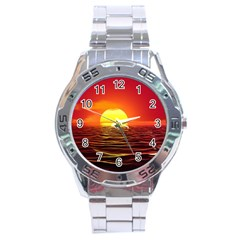 Sunset Ocean Nature Sea Landscape Stainless Steel Analogue Watch