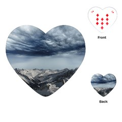Mountain Landscape Sky Snow Playing Cards (heart)  by Celenk