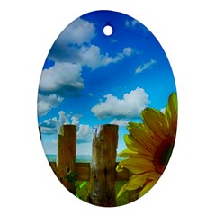 Sunflower Summer Sunny Nature Oval Ornament (two Sides) by Celenk