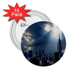 New York America New York Skyline 2 25  Buttons (10 Pack)