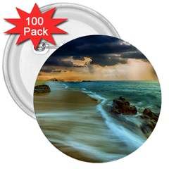 Beach Shore Sand Coast Nature Sea 3  Buttons (100 Pack)