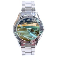 Beach Shore Sand Coast Nature Sea Stainless Steel Analogue Watch