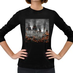 Destruction War Conflict Explosive Women s Long Sleeve Dark T Shirts