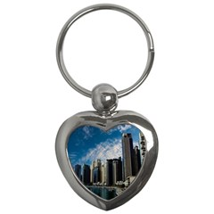 Skyscraper City Architecture Urban Key Chains (heart)  by Celenk