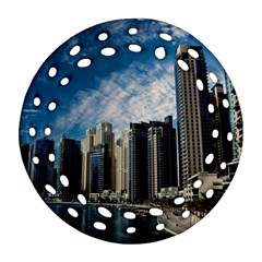 Skyscraper City Architecture Urban Round Filigree Ornament (two Sides) by Celenk