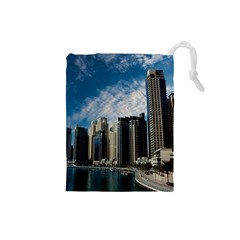 Skyscraper City Architecture Urban Drawstring Pouches (small)  by Celenk