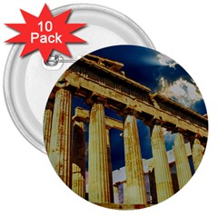 Athens Greece Ancient Architecture 3  Buttons (10 Pack)  by Celenk