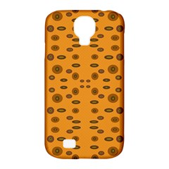 Brown Circle Pattern On Yellow Samsung Galaxy S4 Classic Hardshell Case (pc+silicone) by BrightVibesDesign