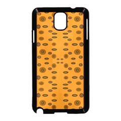Brown Circle Pattern On Yellow Samsung Galaxy Note 3 Neo Hardshell Case (black) by BrightVibesDesign