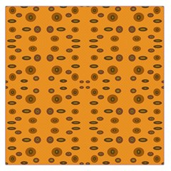 Brown Circle Pattern On Yellow Large Satin Scarf (square) by BrightVibesDesign