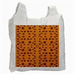 Brown Circle Pattern On Yellow Recycle Bag (one Side) by BrightVibesDesign