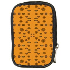 Brown Circle Pattern On Yellow Compact Camera Cases by BrightVibesDesign