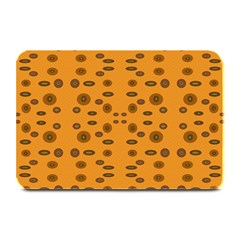 Brown Circle Pattern On Yellow Plate Mats by BrightVibesDesign