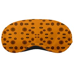 Brown Circle Pattern On Yellow Sleeping Masks by BrightVibesDesign