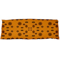 Brown Circle Pattern On Yellow Body Pillow Case Dakimakura (two Sides) by BrightVibesDesign