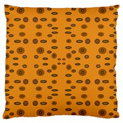 Brown Circle Pattern On Yellow Large Cushion Case (two Sides) by BrightVibesDesign