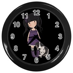 Dolly Girl And Dog Wall Clocks (black) by Valentinaart