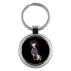 Dolly Girl And Dog Key Chains (round)  by Valentinaart