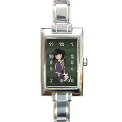 Dolly Girl And Dog Rectangle Italian Charm Watch by Valentinaart