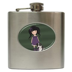 Dolly Girl And Dog Hip Flask (6 Oz) by Valentinaart
