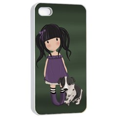 Dolly Girl And Dog Apple Iphone 4/4s Seamless Case (white) by Valentinaart
