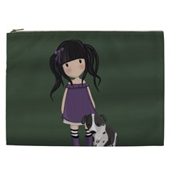 Dolly Girl And Dog Cosmetic Bag (xxl)  by Valentinaart