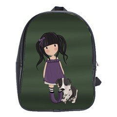 Dolly Girl And Dog School Bag (xl) by Valentinaart