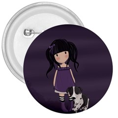 Dolly Girl And Dog 3  Buttons by Valentinaart