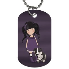 Dolly Girl And Dog Dog Tag (one Side) by Valentinaart